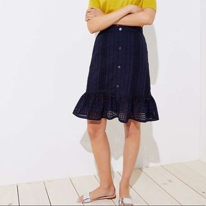 Loft eyelet button-front skirt in navy